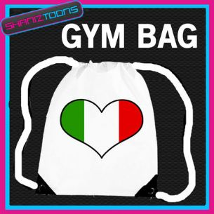 ITALY HEART FLAG HEART LOVE GYM DRAWSTRING WHITE GYMSAC BAG